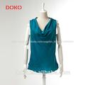 2014 nueva llegada dk. Verde de verano casual blusa de satén