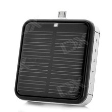 External 2200mAh Solar Powered Emergency Battery Charger w/ Micro USB Port for Cell Phone