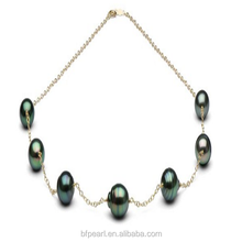Women Jewelry 9-10mm Baroque Tahitian Pearl Fine Tin Cup Necklace