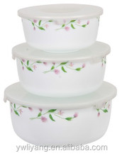 3PCS Enamel Refreshing Floral Decal Storage Bowl Cast Iron Can