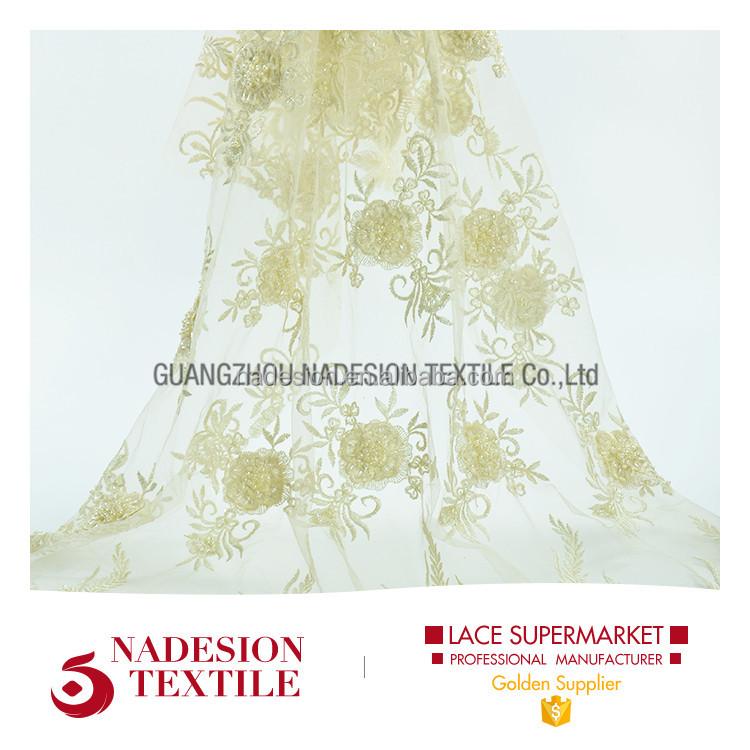 2017 nouveaux modèles guangzhou français net maille dentelle tissu avec perles