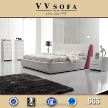2015 Hot sailing modern pink leather bedroom furniture ,Foshan factory leather bed