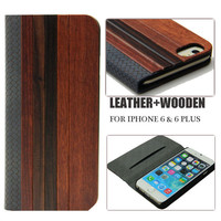Padauk rosewood woods leather cover for iphone 6,flip wooden leather case for iphone 6