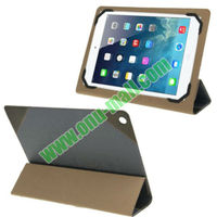 High-end Multifunctional 3-folding Holder Ultra Thin Linen Texture Leather Case for iPad 5 with Holder & Credit Card