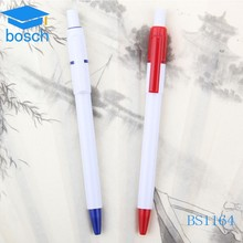 Smooth writing personalized push white plastic ball pen
