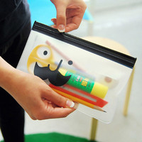 novel stationery products and cheap price beard smile transparent PVC clear plastic pencil case with zipper
