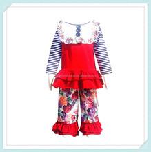 New Fashion Children Kids Vintage Long Sleeve T-shirt Matching Ruffle Floral Pant Cotton Clothing Sets Children's Boutique Suit