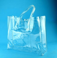 PVC shopping bag, sterile plastic ice bag for wine, soft handle bag