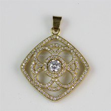 Vogue Jewelry Pictures Women's Very Nice Antique Raw Brass Zircon Pendant