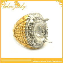 Yellow Gold Plated Cheap Wholesale Mens Stainless Steel Rings