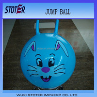 wholesale ecofriendly PVC toy jumping pop ball with handle