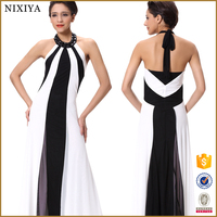 Polyester Mesh Off-Back Design Black and White Sexy Party Lady Long Dress