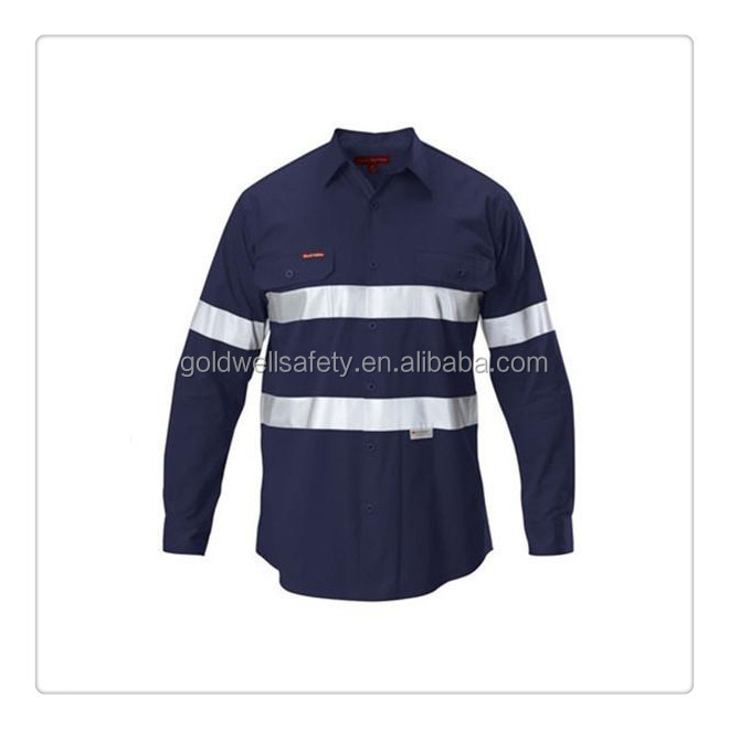 100 Cotton Shirts High Visibility Navy And Orange Work
