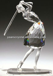 china supply shining 3d crystal golf girls figurine model for home decoration(R-2124