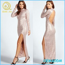 Charming Sequin Backless Maxi Dress Sexy Long Sleeve Evening Dresses