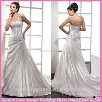WD1186 Sweetheart-Neck embroidered patterns top ruched top mermaid chapel train corset back bridal dresses 2012
