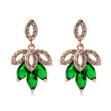 ER076 Fashion Jewelry for wedding/party/engagement/gifts, Decent Green Maple Type Crystal Earrings