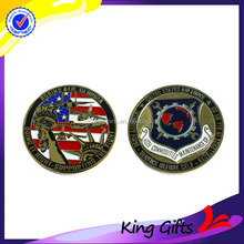 2015 Personalized soft enamel gold plated statue of liberty challenge coins with shield and us flag logo