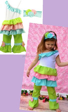 Cute Baby Girls Pink, Lime and Blue Polka Dot Print 3pcs Easter Spring Branded Clothes