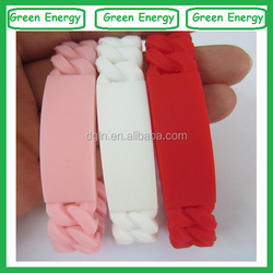 Debossed/printing/embossed braided silicone bracelets/wristbands silicone