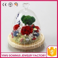 Bridal Wedding Interior Gifts of Artificial Flower Accessories rabbit bear Shielded BY Waterproof Cristal Glass Dome Cover A020
