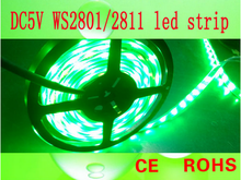 china supplier high quality and cheap price rgb flash flexible led strip with ic ws2801/2812control lighting (5v smd 5050 ip66)