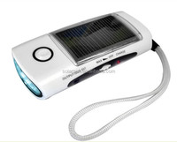 emergency light battery hot selling led solar dynamo radio flashlight