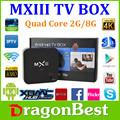 Andriod mx3 caixa de tv 2gb android 4.4 amlogic s802 quad core android tv caixa 4k decodificação, octa gpu 2g 8g