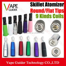 Skillet Vaporizer Wax Dry Herb Atomizers With Flat or Round Tips Multi Colors Dual Ceramic Rod Coils