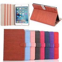 High Quality Wooden Pattern Standing Flip PU Leather Case for iPad Mini 4
