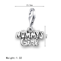 Zinc Alloy Mommy's Girl Message Charm With A Lobster Clasp For Charm Bracelets
