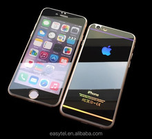 colorful mirror tempered glass screen protector front+back, 9H 0.3mm round edge tempered glass protector for iphone 6