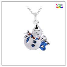 Enameled Crystal Snowman pendant Christmas present