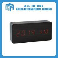 Custom creative LED alarm clock, Cartoon lazy home red digital black wood alarm clock
