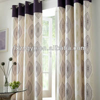 Hot sale polyester jacquard eyelet window curtains design