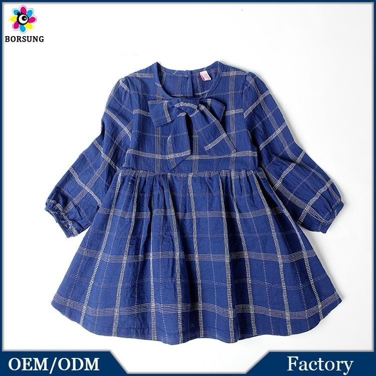 Plaid Latest Dress Designs Fashion Baby Girls Long Sleeve Ruffle Cotton Dress Elegant Baby Clothes