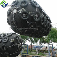 Qingdao pneumatic rubber fender with tire chain net