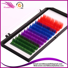 Rainbow Silk lash extension with color: Red- Blue- Purple - Green