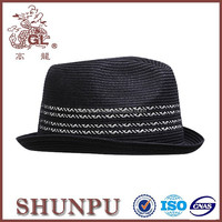 braided and PP cheap black and white leather fedora hat