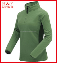 Women's casual plain 100% polyester polar fleece jacket in green