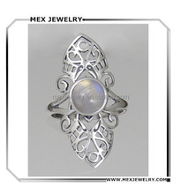 925 Sterling Silver Delicate Filigree Ring with Rainbow Moonstone