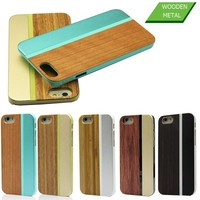 United Stated 5 colors Promotion Durable Slim Armor Aluminum wood Mobile Phone Case For iPhone 6