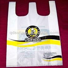 printed plastic T-shirt shopping bags on roll
