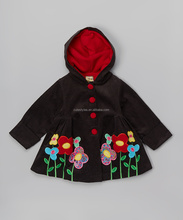 Clothing manufacturers comfortable floral corduroy hooded swing coat toddler kids girls clothing Z-OC80627-1