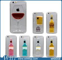 3D Liquid Case for iPhone 6, Unique Alcohol Bottle Wine Cup Cocktail Beer Pattern