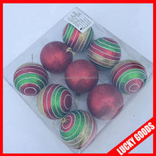 glitter personzed red and green hand made christmas ball with printing