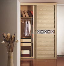 Factory direct sales WPC louvered sliding closet door with Hollow plate and golden mirror