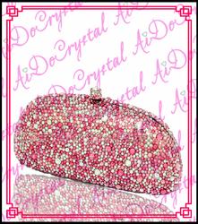 Aidocrystal pure handmade orange dazzling gems banquet bag double use