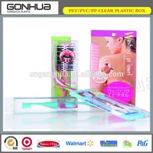 PVC Clear Packaging Box Plastic Hair Comb of Custom Design Cosmetics for wholesale