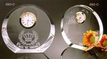 Crystal Blank Award Crystal Plaque for Souvenir with Clock